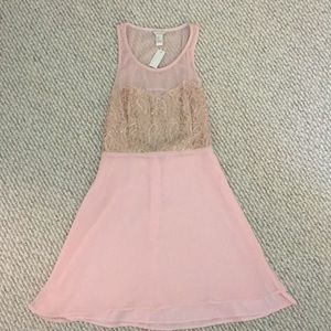New pink polyester dress